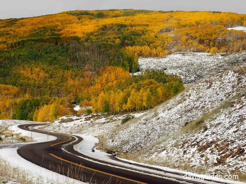 Snow and aspens above Boulder, Utah