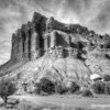 Great Organ rock formation in black and white, Capitol Reef National Park
