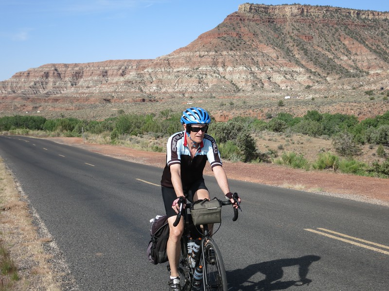 Ken riding up Kolob Terrace Road.