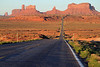 the iconic view of Monument Valley from Route 163, looking south from Utah