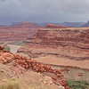 Vista toward Moab from Shafer Trail drive above Colorado River<br /> with virga and rain showers and hoo-doo formations and mesas and buttes and canyons and .....<br /> May 9, 2011