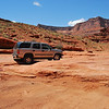 Negotiating a tricky spot along the Shafer Trail.