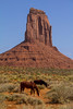 Monument Valley. When I spotted the horses they were walking away from me which changed the angle I needed for the monument backdrop. I ran and scrambled for about 150 yards through bushes and a ravine before finally getting the horses lined up, then moved along with them. They finally stopped for about 3 seconds. My guide waited patiently.