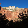 Sandstone cliffs near the narrows in Zion Canyon.