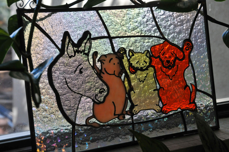 This is one of the Best Friends logos in glass at Angel Village, the gathering place for employees at the Sanctuary.