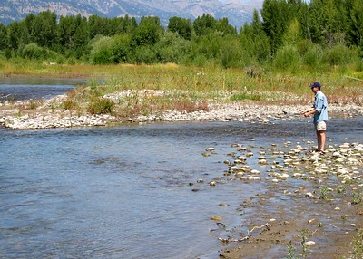 Fly fishing on the Snake River, Jackson Hole.