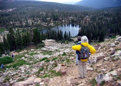 The hike to Lofty Lake in Utah's Uintas. Cutthroat Lake, on the way down.