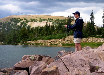 The hike to Lofty Lake in Utah's Uintas. Fishing Lofty Lake.