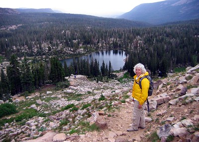 The hike to Lofty Lake in Utah's Uintas. On the way down. Cutthroat Lake is in the distance.