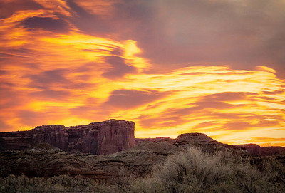 The brilliant colors of a sunrise reflecting on clouds over the top of a canyon wall with desert vegetation in the foreground