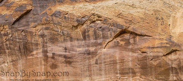 Panorama of the petroglyphs on a canyon wall in Capitol Reef National Park