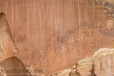 Closeup of the petroglyphs on a canyon wall in Capitol Reef National Park
