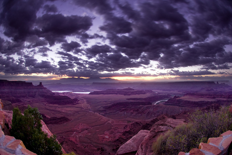 Fisheye view of Dead Horse Point on a cloudy morning.