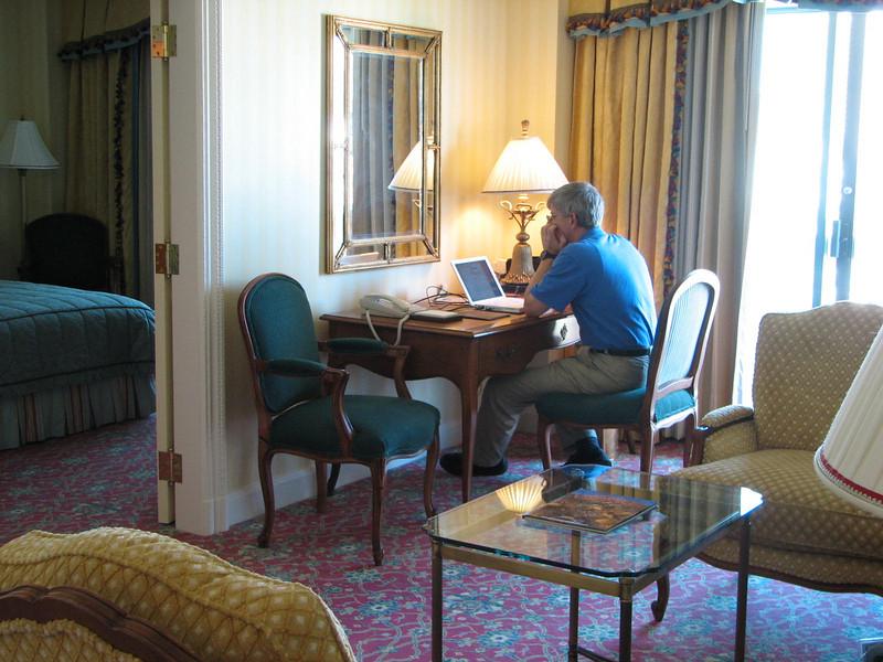 Randal at Desk Checking Email