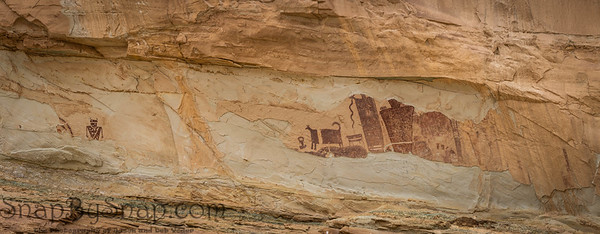 Panorama of the petroglyphs on the Temple Mountain Wash Pictograph Panel