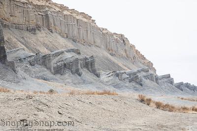 The dry, desolate desert landscape along Utah State Route 24