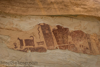 Closeup of the petroglyphs on the Temple Mountain Wash Pictograph Panel