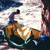 Randal Setting Up Tent (Our Luxury) in Happy Valley - Our Week in the Wilderness  10-6-89