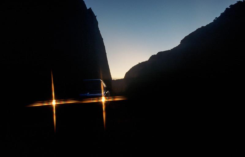The lights of my Subaru, Anza-Borrego - November 1988