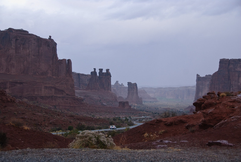 A drizzly day in Arches National Park, Utah<br /> From Courthouse Towers Viewpoint<br /> October 2009
