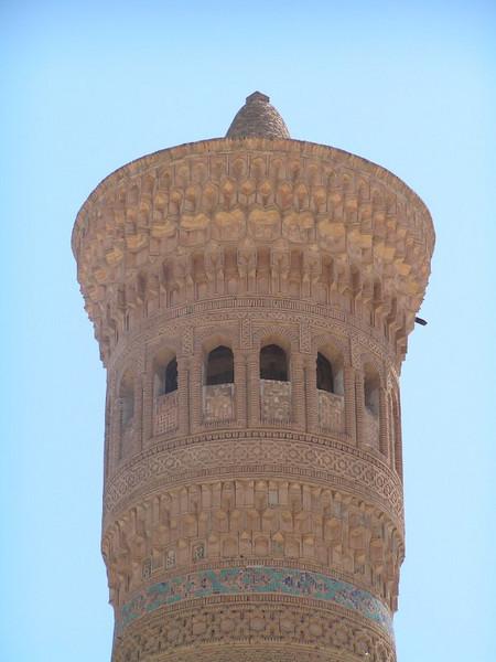 Minarete desde donde se llama a la oración, aunque en este pais servia más de puesto de vigilancia ya que en Uzbekistan  la religion es muy moderada