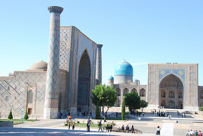 The Registan Complex, the most famous of Samarkand's treasures. Made up of 3 huge madrassah (schools) construction of the first madrassa was began in 1417 by Tamerlane's grandson.