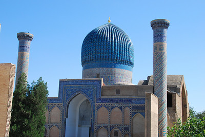 Gur-e Amir, the tomb of Amir Tamir who was better known in the West as Tamerlane, 'The Terror of the World'.  Born in Shahrisabz, about 50kms from Samarkand he went on to command a huge empire.
