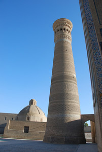 "The Kalon Tower in Bukhara built in 1127 A.D. The name means ""great"" in Tajik. Genghis Khan is said to have been so impressed by the minaret that he ordered it spared though he destroyed the mosque that was next to it."