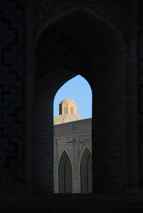 Inside the Kalon mosque looking out.