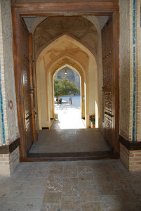 The entrance to the Kalon mosque in Bukhara.