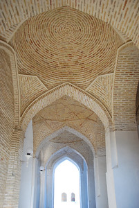 Intricate brickwork ceiling inside the Kalon mosque.