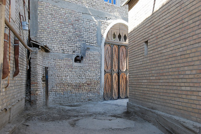 Winding back alleys in Bukhara.