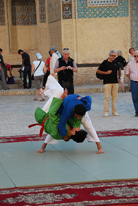 Martial arts class in the courtyard outside the madrassa.