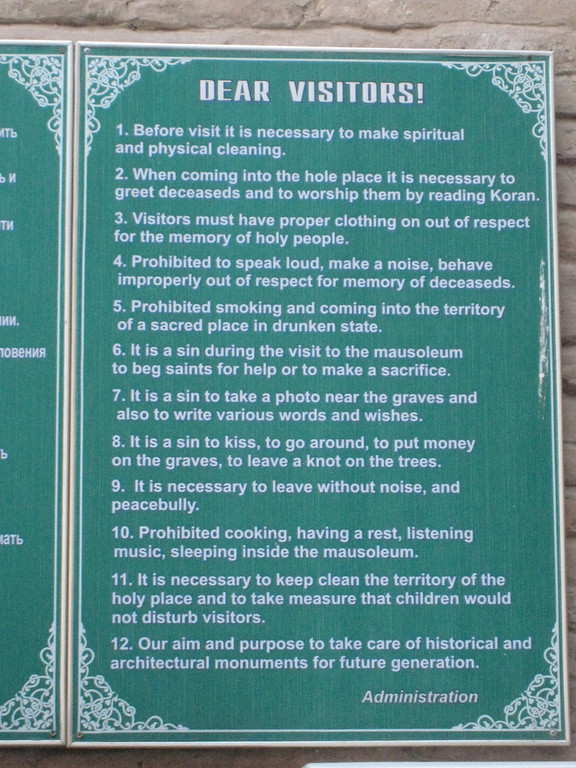 The rules at the entry to Shahi Zinda a complex of mausoleums centred around what's believed to be the grave of a cousin of the Prophet.