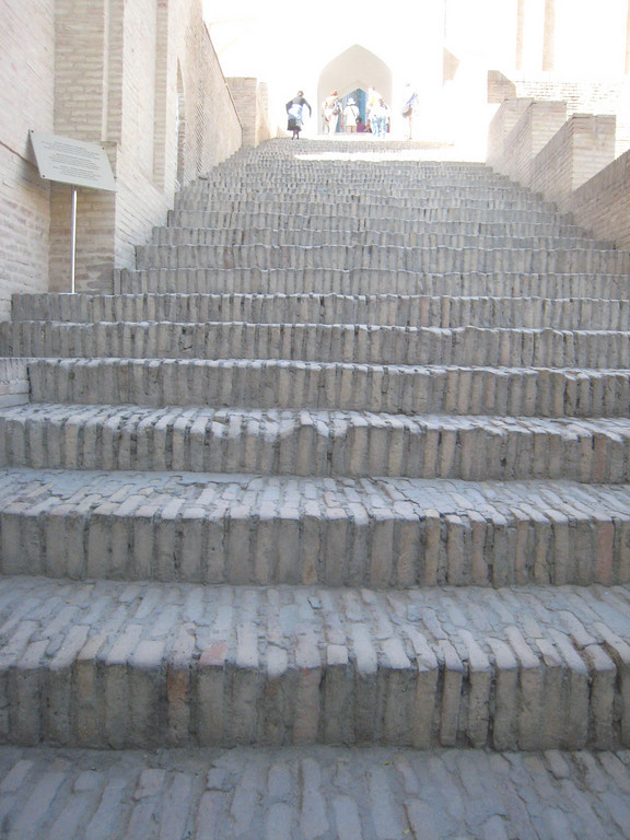 The 40 steps up to the Shahi Zinda site.  The site is a place of pilgrimage and some people climb the steps on their knees.
