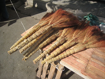 Whisked away by the brooms in the main market in Samarkand.