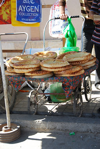 At the bazaar, bread for sale.