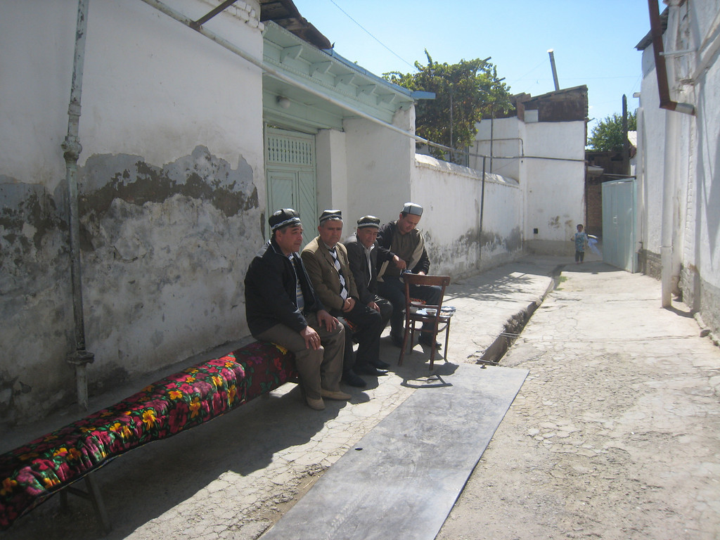Local gents enjoying tea and a gossip.