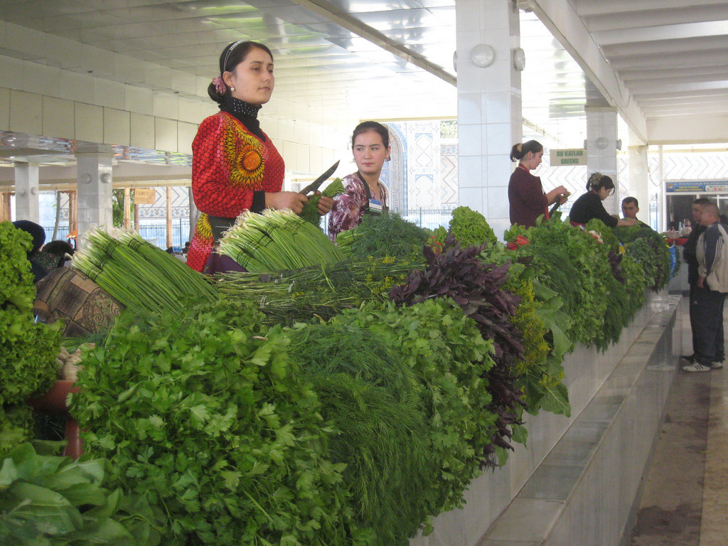 Herbs for sale in the main market in Samarkand.