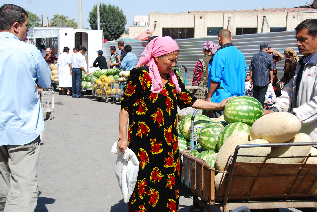 Checking the produce in the bazaar in Samarkand.