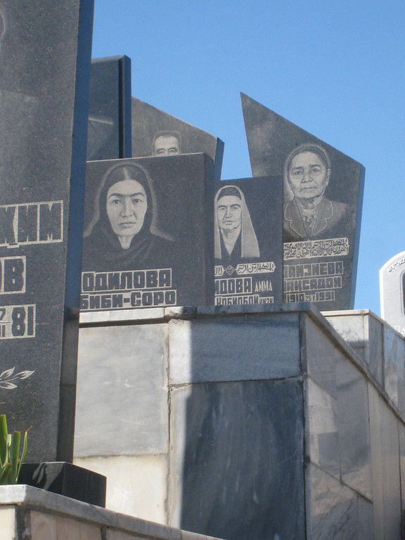 Picto-graves in the modern part of the cemetry adjacent to Shahi Zinda in Samarkand.