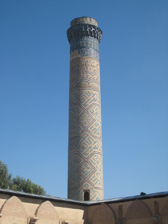 Samarkand mosque minaret.