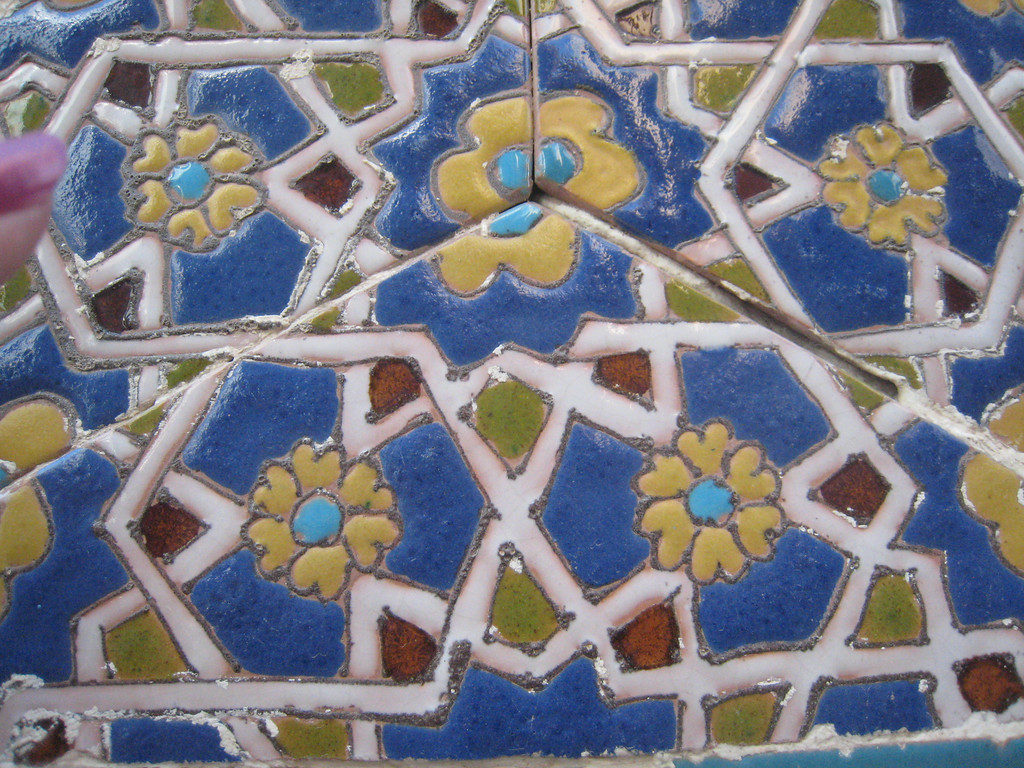 Close up of some of the tile work on one of the tombs.