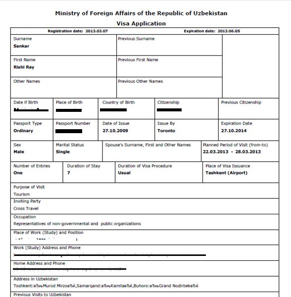 How to get an Uzbekistan visa as a Trini or Canadian?