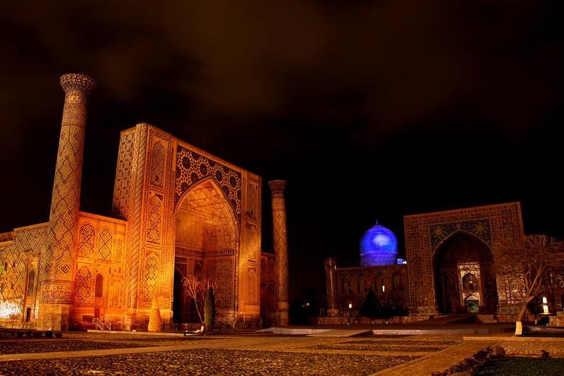 Sound and light show, Registan Square, Samarkand, Uzbekistan