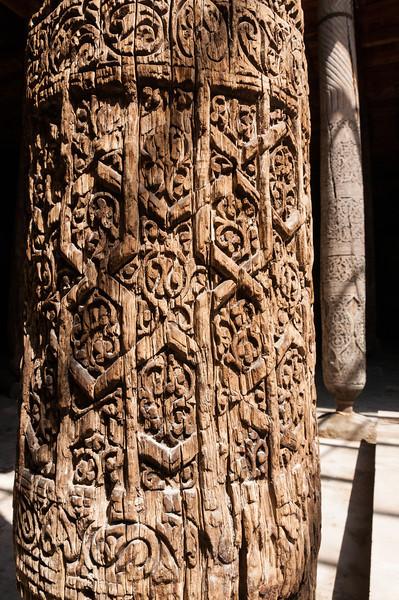 Carved pillar in the Juma Mosque. Khiva, Uzbekistan