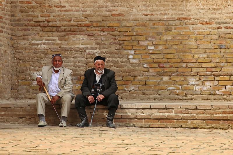 Men at palace of Timur, Shakhrisabz