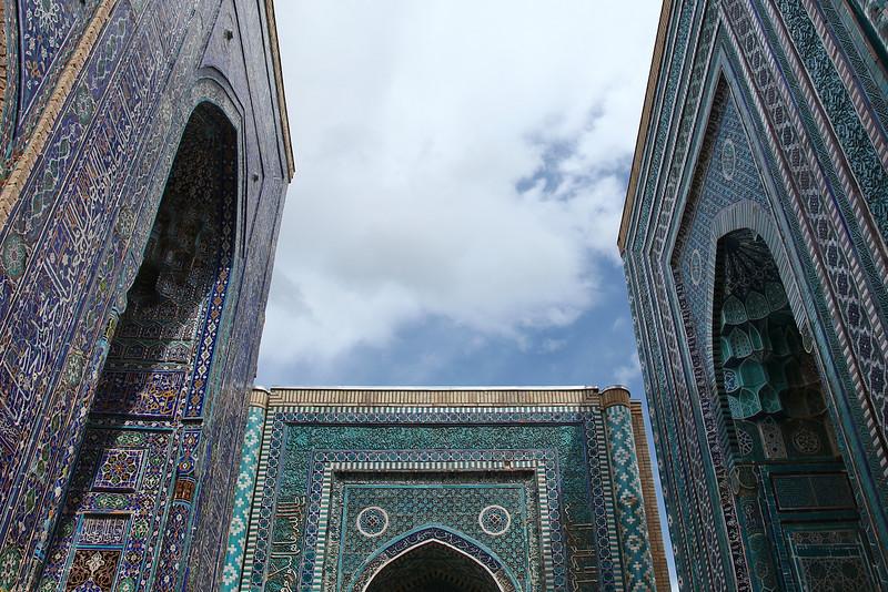 Facades of Shakhizinda, Samarkand, Uzbekistan