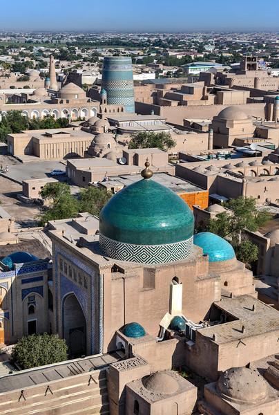 Islam Khoja Aerial View - Khiva, Uzbekistan