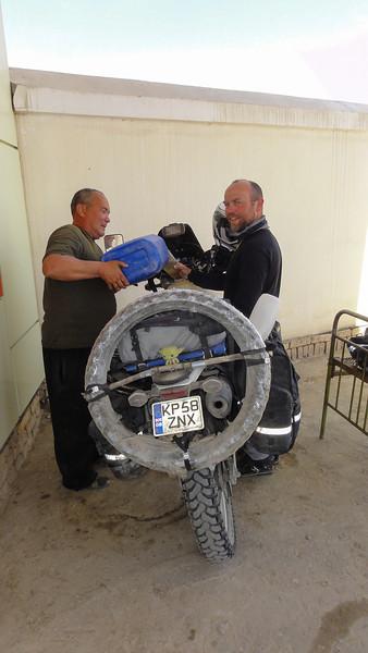 Black market fuel bought with U$ in Karakalpakstan, Uzbekistan